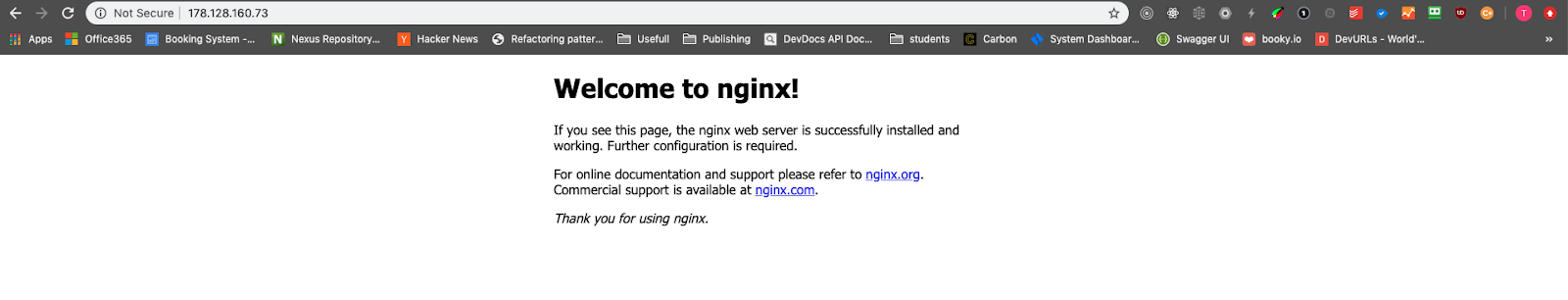 welcome to nginx screenshot