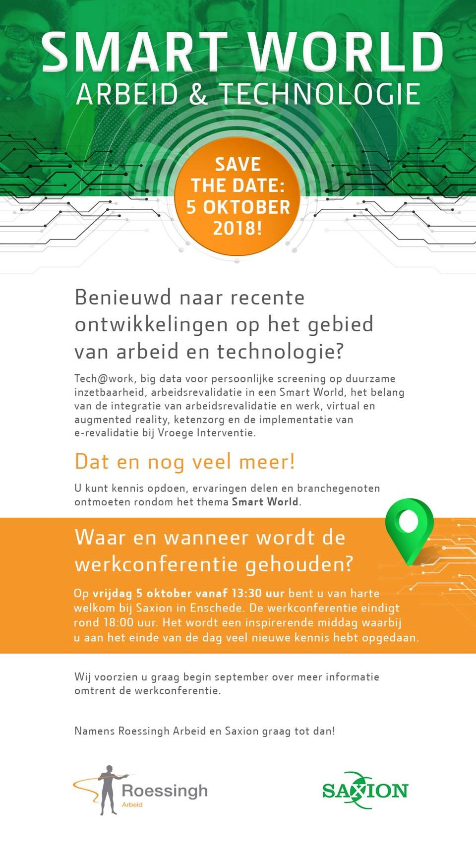 Save the date Smart World Arbeid & Technologie