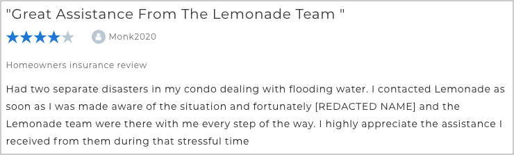 Lemonade home insurance review by user Monk2020
