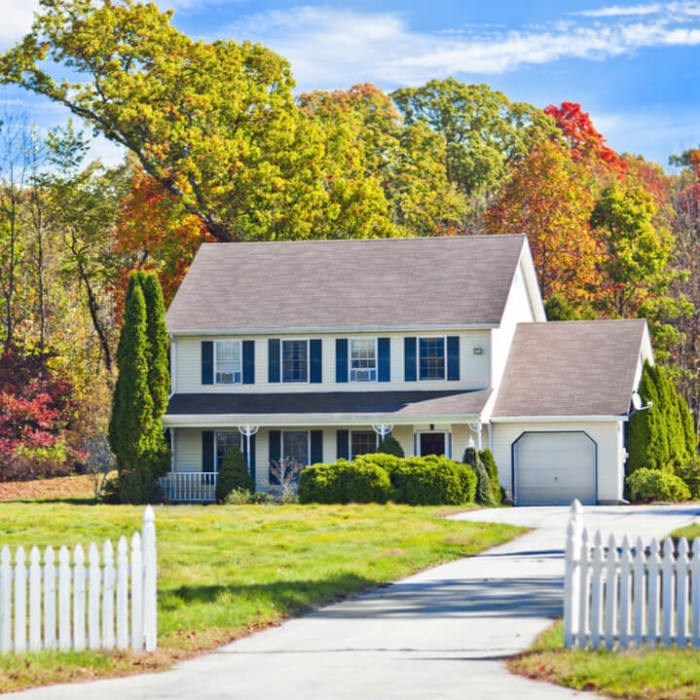 A Connecticut home in the fall season with Connecticut home insurance.