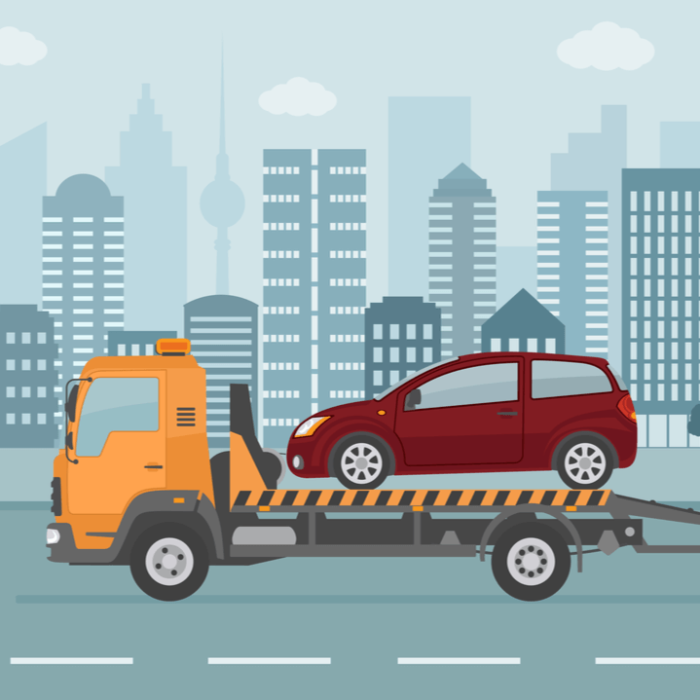 An illustration of a car with a salvage title on a tow truck in a city.