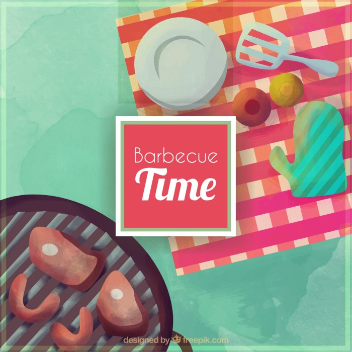 Cartoon barbecue grill and picnic