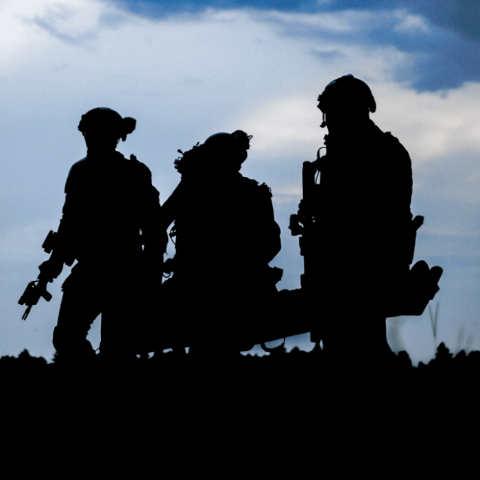 Silhouettes of military members