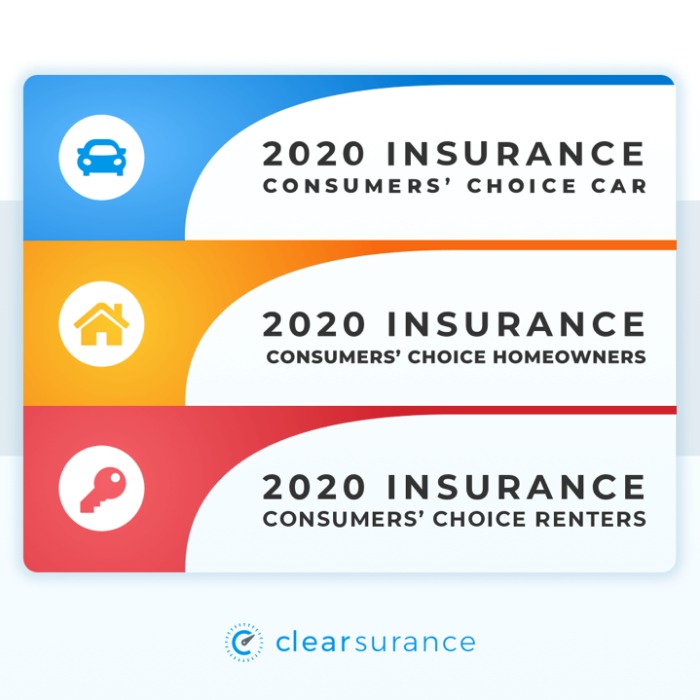 2020 Insurance consumers' choice for car, homeowners, and renters insurance