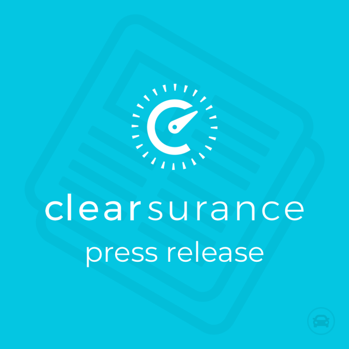Caption text: Clearsurance press release