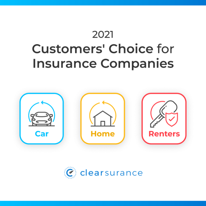 Clearsurance announces the best insurance companies for 2021 according to customer reviews for car, homeowners, and renters insurance.