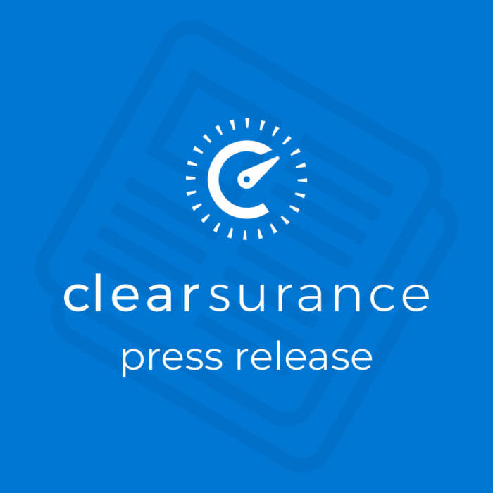 "A blue image that has the Clearsurance logo and says ""Clearsurance press release."""