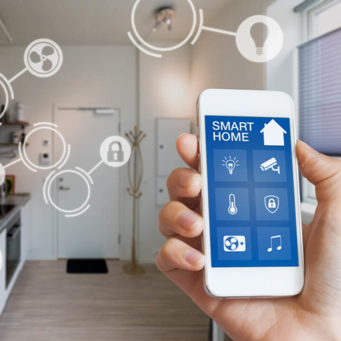 A smart home devices app with all the technology options in the home.
