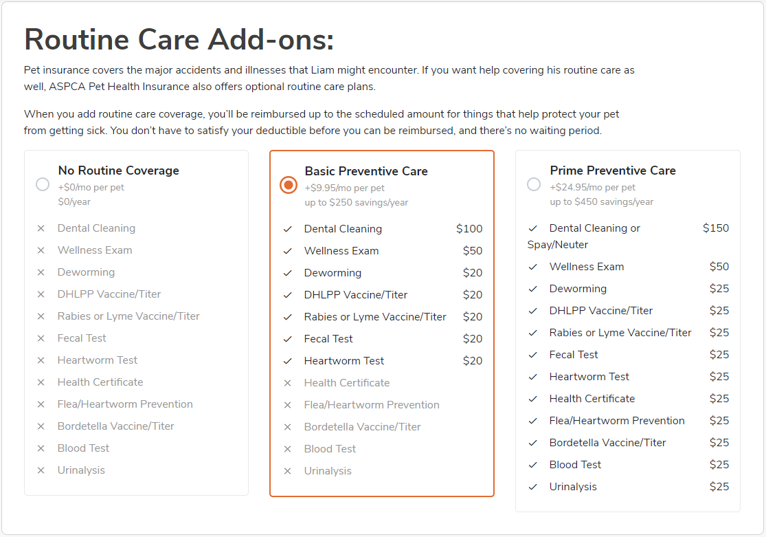 ASPCA Routine Care Wellness Plan Add-ons