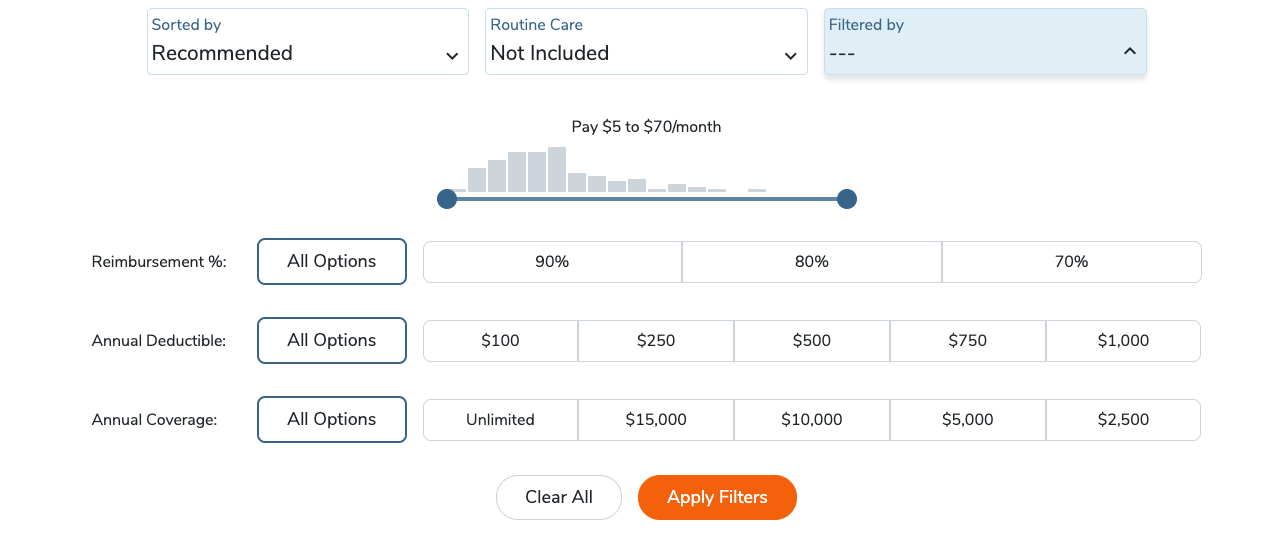 pawlicy advisor pet insurance quote search filters