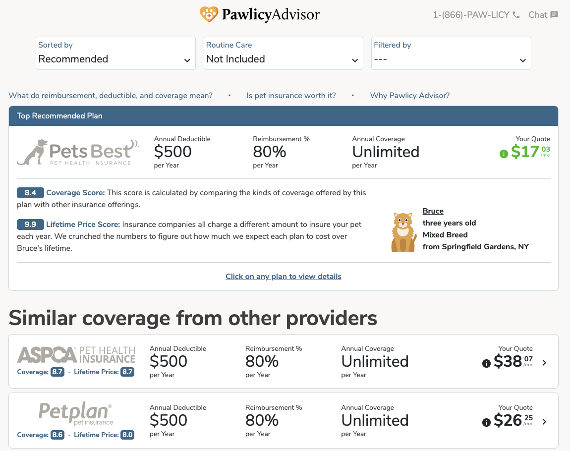 pawlicy advisor pet insurance quotes page