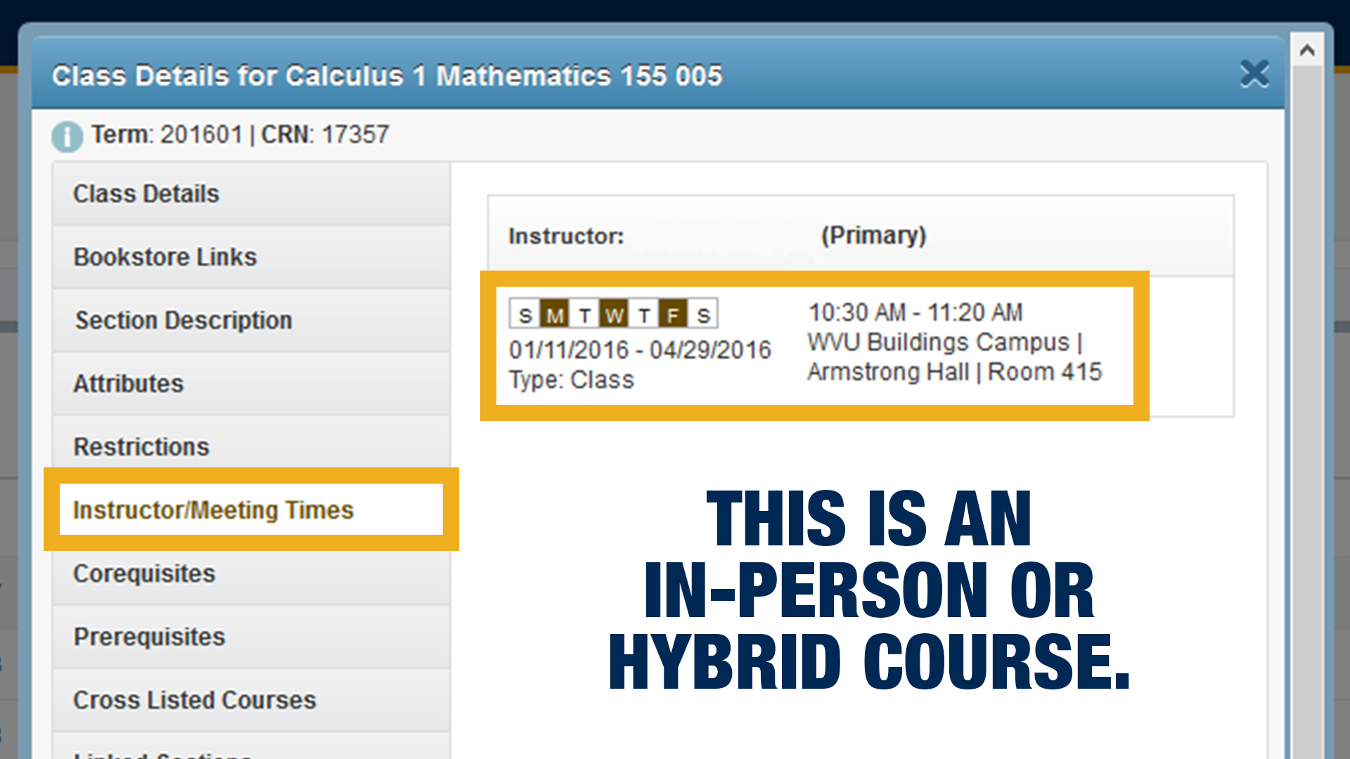 Screenshot of what an in-person or hybrid course