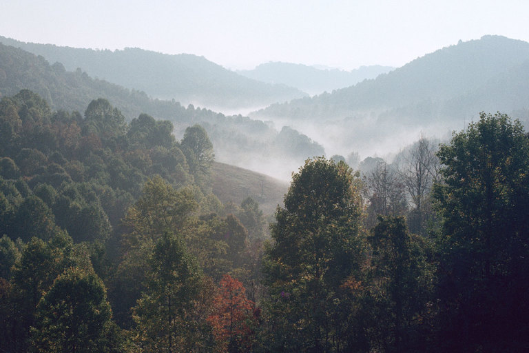 West Virginia mountains with fog in valley