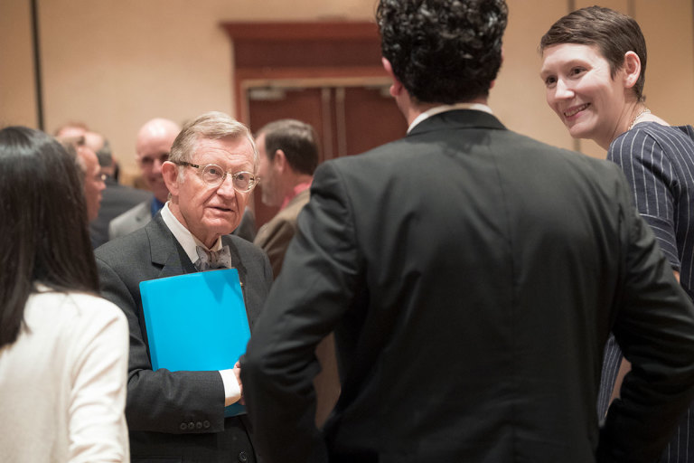 WVU President Gordon Gee talks to attendees at a forum for Legislators