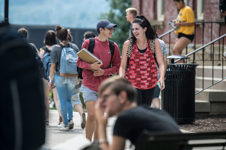 Students walk to class on the first day of the fall 2018 semester