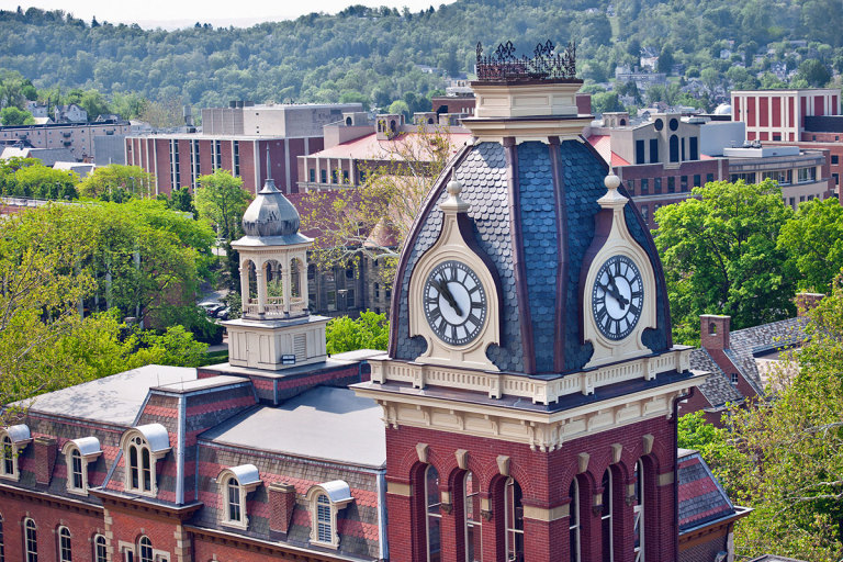 Aerial view of Woodburn Hall tower, Martin Hall and Downtown