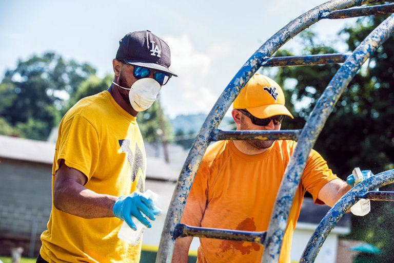 Disinfecting playground equipment