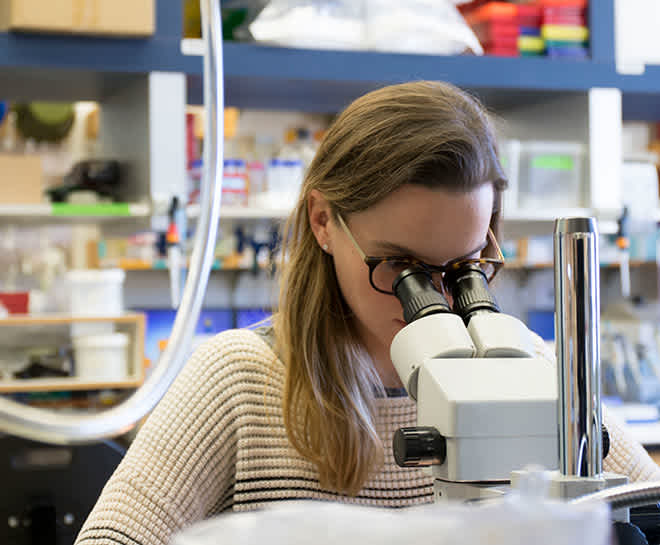 Woman looking into a microscope in a lab