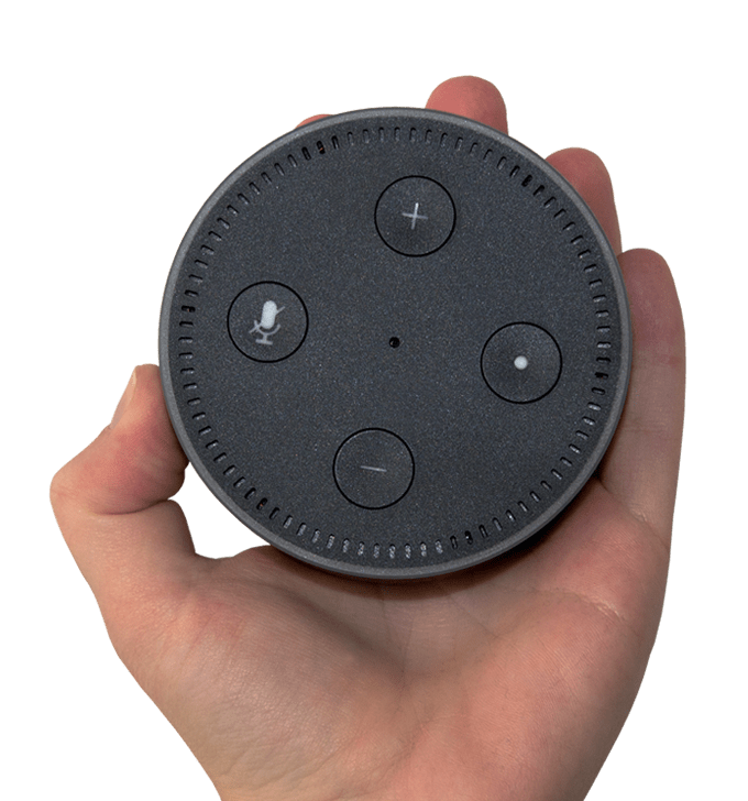 Hand Holding Amazon Alexa Dot