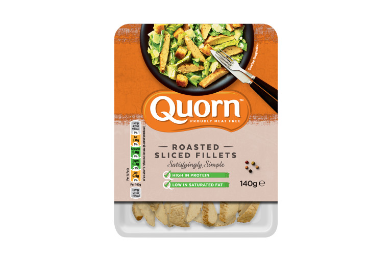 A packet of Quorn Roasted Sliced Fillets showing the prepared product and information.