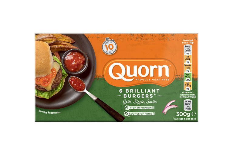 A box of Quorn Brilliant Burgers showing the prepared product and information on an orange and green background.