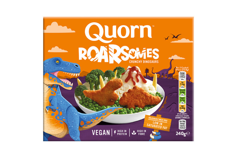 Quorn Roarsomes packaging with nutritional information.