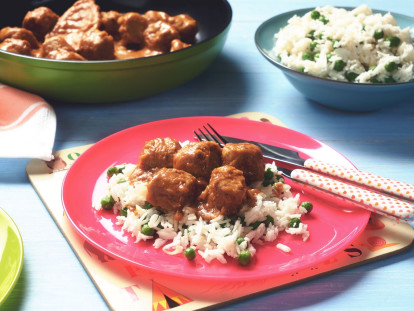 quorn swedish style meatball satay with coconut rice vegetarian recipe