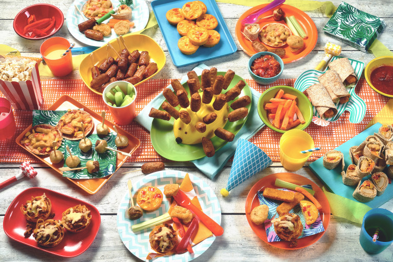 A table laid out with a selection of kids party food made from Quorn ingredients.