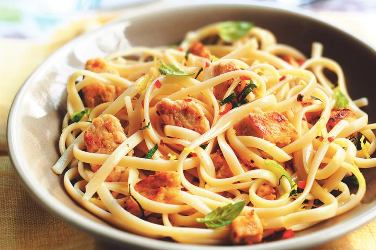 quorn pieces lemon and chilli linguine vegetarian pasta recipe