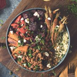 Roasted Veggie and Quorn Mince Winter Buddha Bowl
