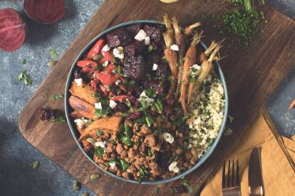 roasted veggie and quorn mince winter buddha bowl vegetarian recipe