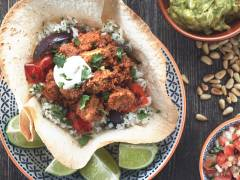 quorn pieces mole taco basket vegetarian recipe