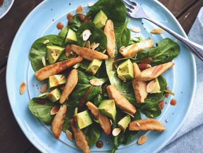 healthy quorn meatless fillets with spinach salad recipe