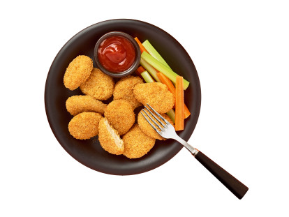 Quorn Vegan Crunchy Nuggets packaging with nutritional information.