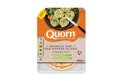 meat free quorn spinach and red pepper slices