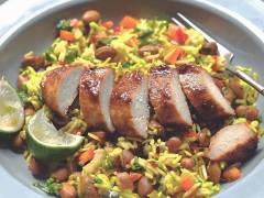 caribbean jerk quorn fillets recipe with rice vegetarian recipe