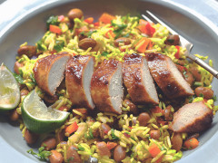 caribbean jerk quorn fillets recipe with rice vegetarian recipe