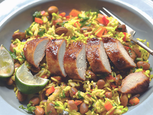 Caribbean Jerk Quorn Meatless Chicken with Rice