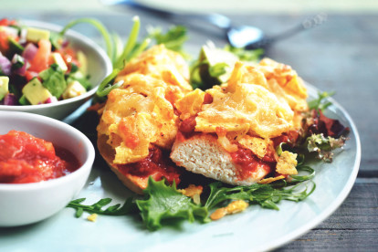 quorn fillets topped with nachos & salsa vegetarian recipe