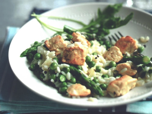 Quorn Meatless Chicken, Asparagus, & Pea Risotto