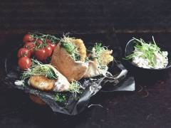 pita bread stuffed with quorn escalopes with mozzarella & pesto and coleslaw vegetarian recipe