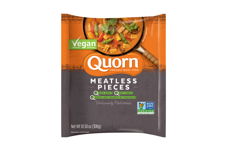 A bag of Quorn Meatless Pieces showing the plated product and information on an orange and charcoal background.