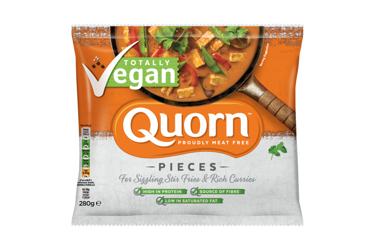 Quorn Vegan Pieces packaging with nutritional information.