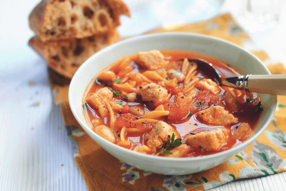 hearty bean pasta soup vegetarian recipe