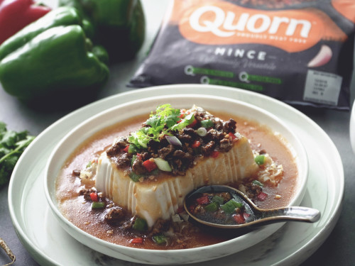Steamed Tofu with Quorn Meat Free Mince