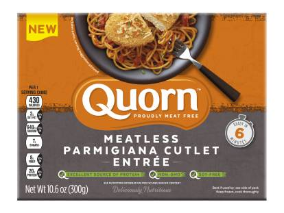 A box of Quorn Meatless Parmigiana Cutlet Entrée showing the plated product and information on an orange and charcoal background.