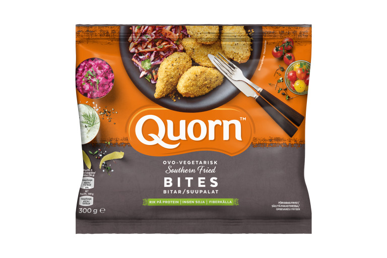 A bag of Quorn Southern Fried Bites showing the prepared product and information on an orange and charcoal background.