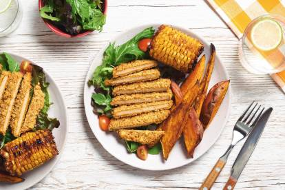 Quorn Spicy Tortilla Escalopes with Roasted Corn and Sweet Potato Wedges