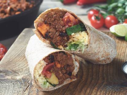 quorn mince, sweet potato and black bean chipotle burrito vegetarian recipe
