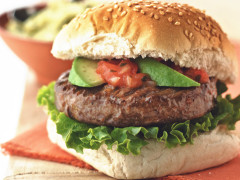 Quorn Veggie Burger, made with Quorn Classic Beef Style Burger, and served in a bun with avocado, tomato, onion and lettuce